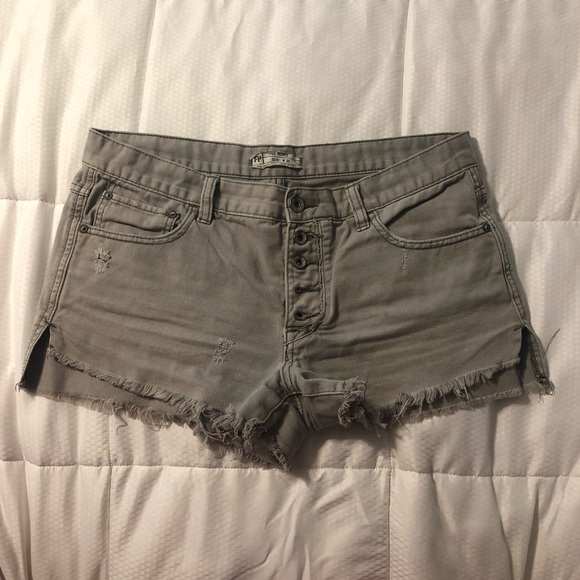 Free People Pants - Free People Mid Rise Grey button up jean shorts.